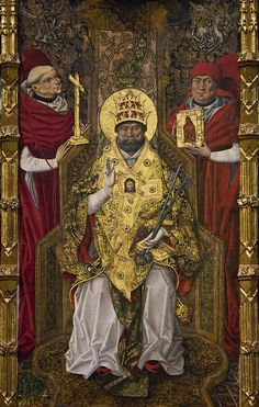 St Peter between cardinals by Lawrence OP via Flickr Today is the 83rd birthday of Pope Benedict XVI and this medieval p St peter Medieval paintings Saints