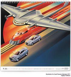 Illustrations for Audi calendar 2011 project by Evgeny Parfenov, via Behance