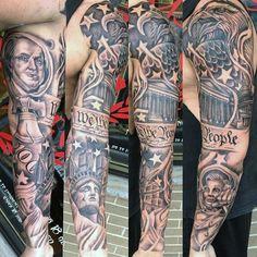 Mens We The People American Themed Patriotic Full Sleeve Tattoos