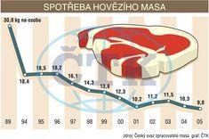 Spotřeba hovězího masa v ČR od roku 1989 barva