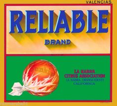 La Habra California Reliable Orange Citrus Fruit Vintage Crate Label Print in Collectibles, Advertising, Merchandise & Memorabilia, Labels | eBay