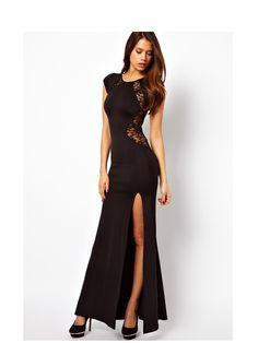 $ 13.80 Women Sexy Maxi Dress Lace See-through Back Slim Bodycon Fishtail Split Long Party Dress Black