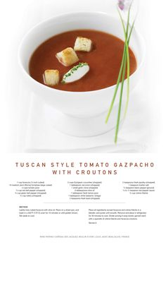 Celebrity Cruise Lines Recipe for Tuscan Style Tomato Gazpacho with Croutons #recipe!