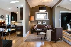 white trim silver wall brown sofa maple cabinets - Google Search