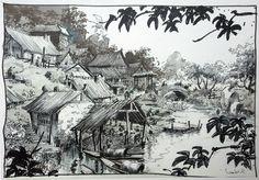 "Visual development for Disney's ""Mulan"" by Regis Loisel."