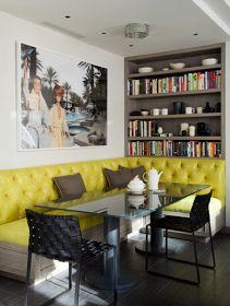 Tufted nook & bookshelves
