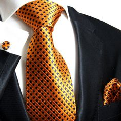 Paul Malone Extra Long Silk Necktie, Pocket Square and Cufflinks Orange Navy http://www.yourneckties.com/paul-malone-extra-long-silk-necktie-pocket-square-and-cufflinks-orange-navy-2/