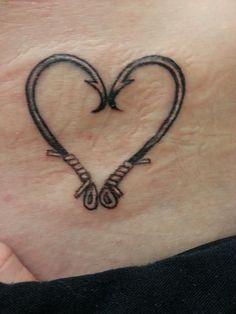 heart fish hook tattoo