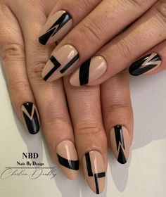 "NBD-Charleen Dunkley on Instagram: ""For a gorgeous lady inside and out!  #black #blacknails💅 #nude #beautiful #2020  #nailinspirations #gel #nudenails💅 #abstract…"""