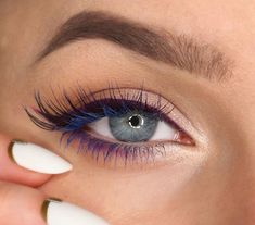 Purple liner and blue mascara