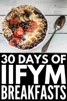 30 Days of IIFYM Breakfast Ideas for Weight Loss | If you're looking for easy, macro-friendly breakfast recipes, this collection of IIFYM recipes will inspire you! From overnight oats, to a peanut butter banana protein breakfast cake, to banana muffins, to yogurt and cottage cheese breakfast bowls, these balance breakfasts are equal parts delicious and filling! #macrofriendlyrecipes #IIFYM #IIFYMrecipes #IIFYMbreakfast
