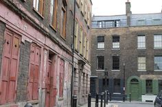 Very old Huguenot Houses, Fournier Street, Brick Lane, London pinned by Debbie www.coffeecakeandculture.com