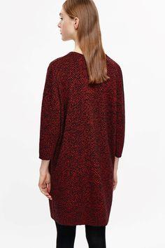 COS image 3 of Jacquard knit dress in Crimson