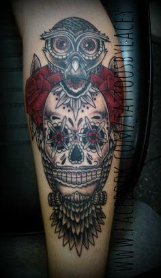 Owl and sugar skull tattoo by Lacey Burnett www.facebook.com/tattoosbylacey Owl Forearm Tattoo, Traditional Owl Tattoos, Tattoo Time, Sugar Skull Tattoos, New Tattoos, Owls, Tatting, Tattoo Ideas, Therapy