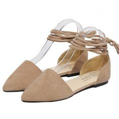 Elegant Shallow Hollow-Out Suede Women Pointed Toe Square Heel Flats ($10.50) http://www.clubwholesale.net/shoes/flats