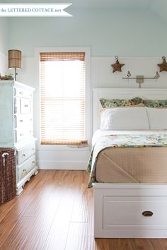 "Southern Cottage | The Lettered Cottage-  Benjamin Moore ""Crystal Blue"" wall color"