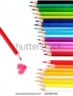 Beautiful set of Color pencil  and Red one paint red Heart ,Love concept, Isolated white background with clipping path - stock photo