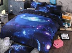 Amazing #Galaxy Print 4-Piece Polyester Duvet Cover Sets #3d #bedding #bedroom