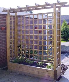 Pergola Garden Planter - Wooden Framed Arch Planter - Wooden Garden Planters way to add shade w/out attaching to house or deck. build a couple and stretch shade cloth over Pergola Planter, Privacy Planter, Patio Privacy, Backyard Pergola, Pergola Ideas, Pergola Kits, Privacy Screens, Privacy Trellis, Outdoor Planter Boxes