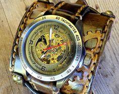 Wide Leather Cuff Watch Steampunk Watch Double Buckle Watch