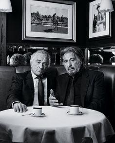 Two legend 📷❤ . Robert De Niro and Al Pacino on Reuniting for Netflix's Costly Oscar Hopeful 'The Irishman' 🎥 . The Irishman 🎬 Al Pacino, Deco Cinema, Stallone Rocky, Photo Star, Martin Scorsese, Living Legends, Film Review, Irish Men, The Godfather