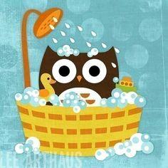 46B Bright Owl in Bathtub 6 x 6 Print by leearthaus on Etsy, $15.00