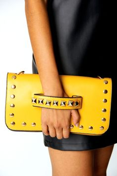 Yellow studded clutch with handle