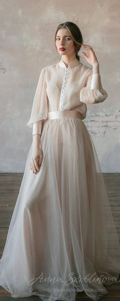 Vintage wedding dress from natural silk and blush tulle skirt. Victorian wedding dress summer wedding dress simple wedding dress 0134 The post Vintage wedding dress from natural silk and blush tulle skirt. Victorian wedding appeared first on Dress. Trendy Dresses, Simple Dresses, Beautiful Dresses, Nice Dresses, Simple Long Dress, Beautiful Women, Beautiful Clothes, Blush Tulle Skirt, Tulle Dress