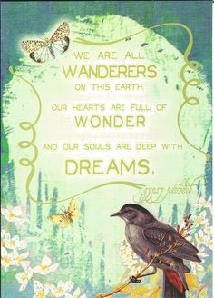We are all wanderers on this earth - our hearts are full of wonder - and our souls are deep with dreams.  Gypsy Proverb
