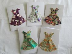Japanese Yuzen paper origami dress greeting cards