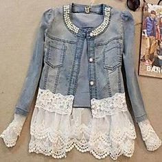 lace jean jacket on sale at reasonable prices, buy 2017 Women Denim Jacket Long Sleeve Lace Jeans Jackets Female Oversized Jean Coat Girls Outerwear Abrigos Mujer jaqueta feminina from mobile site on Aliexpress Now! Lace Jeans, Denim And Lace, Denim Jeans, White Denim, Jeans Casual, Buy Jeans, Denim Shirt, Bling Jeans, Blue Denim
