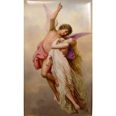 Superb Porcelain Plaque Cupid Psyche Signed K. Forster