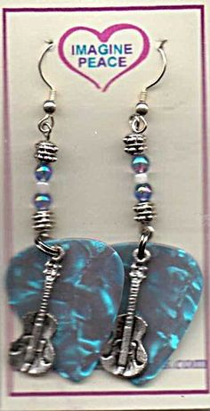 NEW HAND CRAFTED GUITAR PICK EARRINGS  with GUITAR CHARM ~ FREE shipping USA