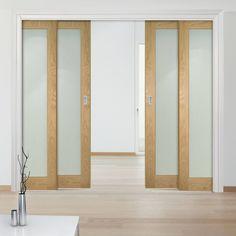 Deanta Quad Telescopic Pocket Walden American Oak Veneer Doors - Frosted Safety Glass - Unfinished.    #moderninteriordoors  #pocketdoors  #telescopicdoors