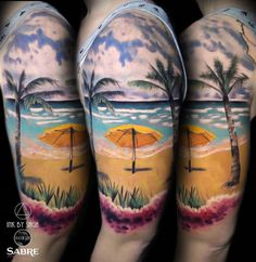 TATTO IDEAS & INSPIRATIONS Beautiful Hawaiian sandy beach with palm trees and flowers, girl's half sleeve by Saga Anderson, a realism specialist base