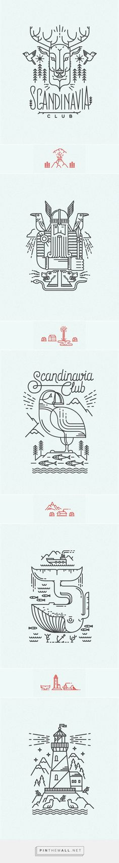 Scandinavian line illustrations for Scandinavia Club in Moscow | #illustration #design:
