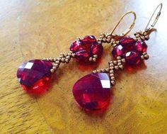 Long red crystal earrings long red earrings by AmyKanarekDesigns Garnet Earrings, Bead Earrings, Crystal Earrings, Flower Earrings, Diamond Earrings, Bead Jewellery, Beaded Jewelry, Jewellery Shops, Beaded Cuff Bracelet