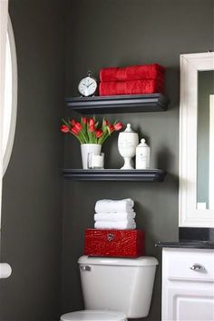 Prepare for Holiday House Guests: Paint Your Guest Bathroom Bold interior design style? Pick a darker, more vibrant hue to liven up your guest bathroom. Prepare for Holiday House Guests: Paint Your Guest Bathroom from Bathroom Bliss by Rotator Rod Deco Wc Original, Diy Casa, Bathroom Inspiration, Bathroom Theme Ideas, Restroom Ideas, Furniture Inspiration, Painting Inspiration, Interior Inspiration, Design Inspiration