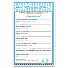Baby Shower Game, Whatu0027s Mommy Wearing? Blue Pinstripes And Personalized  Phrase At Top.
