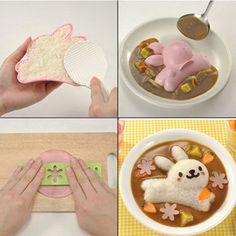 4X Kitchen Egg Sushi Rice Ball Bento Mold tool Rabbit Dolphin Flower DIY #Unbranded