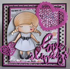 From our Design Team! Card by Anne-Maree Campbell featuring Paper Doll Marci {Love} and these Dies - Love Always, Lacy Heart, Stitched Elements, Filigree Hearts :-) Shop for our products here - lalalandcrafts.com Coloring details and more Design Team inspiration here - http://lalalandcrafts.blogspot.ie/2016/11/inspiration-monday-layers.html
