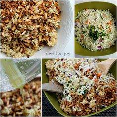 Dwell on Joy: Asian Ramen Salad [slice your own cabbage, skip the butter bake ramen nuts in oven, for minutes] Asian Ramen Noodle Salad, Ramen Noodles, Appetizer Salads, Appetizers, True Food, Cabbage Salad, Food Obsession, Dinner Sides, Dinner Is Served