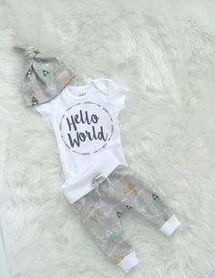 hello world/Baby boy/coming home outfit/ take home outfit/ organic cotton by bibitibobitiboutique on Etsy