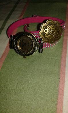 Relógio de 2 voltas em cor de rosa