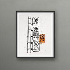 Montreal - Pancartes de parking  PETITE AFFICHE ➼ chaque affiche est unique et NON parfaite. Cest dailleurs ce qui les rends si belles! ➼ 8 x 10 pouces ➼ encres noires et orange néon ➼ sérigraphié sur carton Neenah Moonrock (100% recyclé) ➼ emballé dans une enveloppe cellophane !!! cadre non inclus !!!   <3 SUIVEZ MES CONNERIES SUR www.facebook.com/darveelicious www.instagram.com/darveelicious