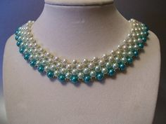 Ombre Pearl Beadwork Necklace Choker Bib Collar with Silver Bead Accents