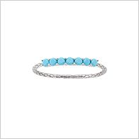 Natural beauty ring with 7 nano turquoise pave set gemstones on sterling silver