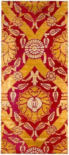 An Ottoman Voided Silk Velvet and Metal thread Çatma Bursa, Late 16th, early 17th C.
