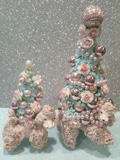 Vintage Pink Poodle Bottle Brush tree