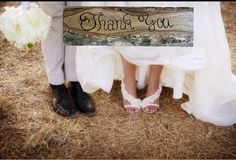 Thank you rustic wedding sign hand painted on reclaimed sawmill lumber on Etsy, $19.00